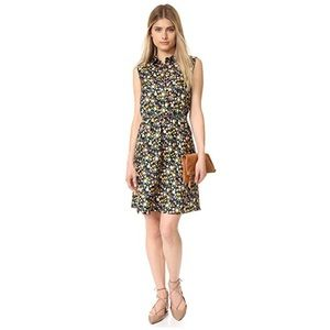 Tory Burch Black Floral Print Collared Dress